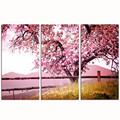 Cherry Blossom Trees Wall Art/3 Pieces Autumn Forest Canvas Print/Wood Frame Giclee Canvas Artwork