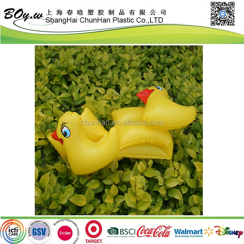CN manufacturer fashion animal air arm rings swimming kids pvc inflatable yellow duck arm band