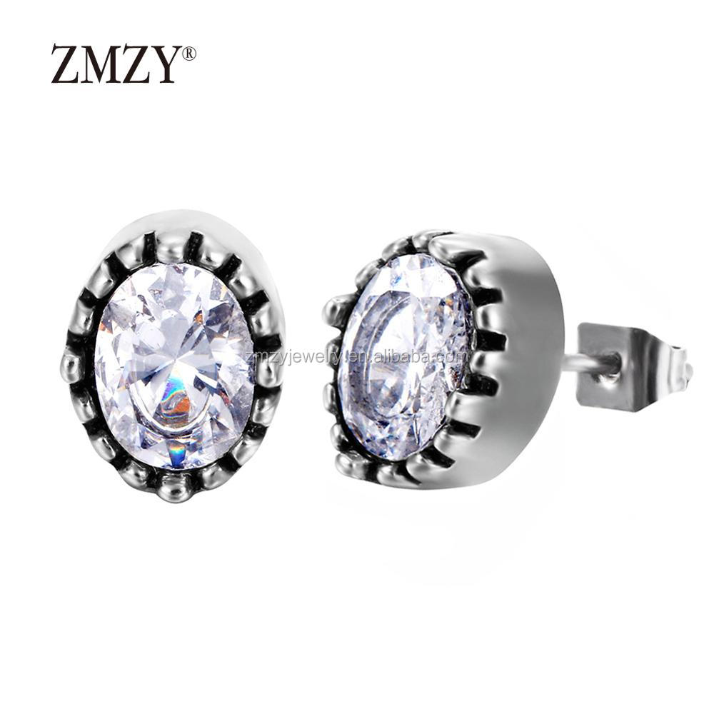 ZMZY Brand 316L stainless steel stud diamond earring fashion jewelry earrings women
