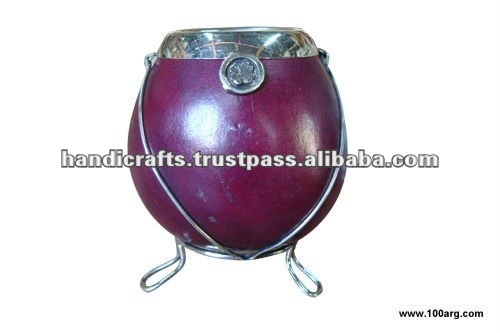 MATE GOURD WITH METAL EDGE AND DETAILS AND BASE IN NIKEL SILVER