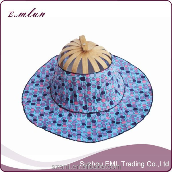 Chinese summer bamboo folding fan hat