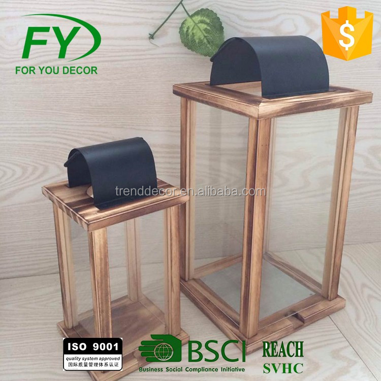 wholesale garden wooden glass candle lantern festival
