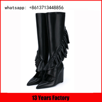 shaft flower and peep toe design with lady wedge sexy long boots