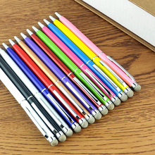 2 in 1 Mesh Micro-Fiber Tip Capacitive Stylus Touch ballpoint pen for iPhone iPad Tablet PC Cellphone