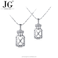 Chinese Couple Love Fashion Pendant Drift Bottle Design, 925 Silver Wish Pearl Necklace Gift Set with Gemstone Beads Changeable