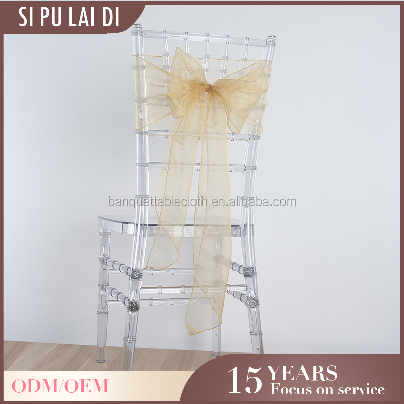 fancy Custom restaurant organza chair sash for wedding