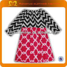 Black and white striped chevron cotton girls' dress Red print ruffle prom gown for children