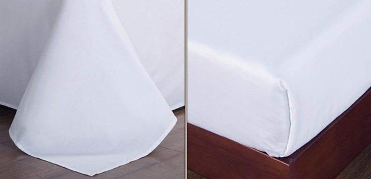 Plain White Color Fitted Bed Sheet Fabric