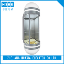 Ac Drive Type Building Glass Circular 6 Person Panoramic Elevator Lift Passenger