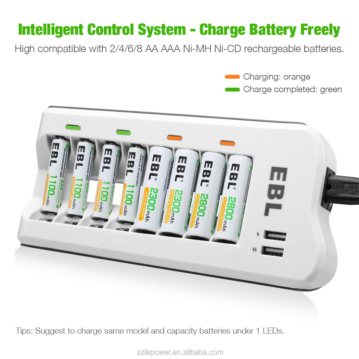 8 Bay Rechargeable Battery Charger with Dual USB Port for NI-MH NI-CD AA AAA Rechargeable Batteries