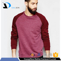 Daijun oem 100%cotton rose-bengal dull-red blend in plain custom with280g no brand name men wholesale raglan sleeve sweatshirt