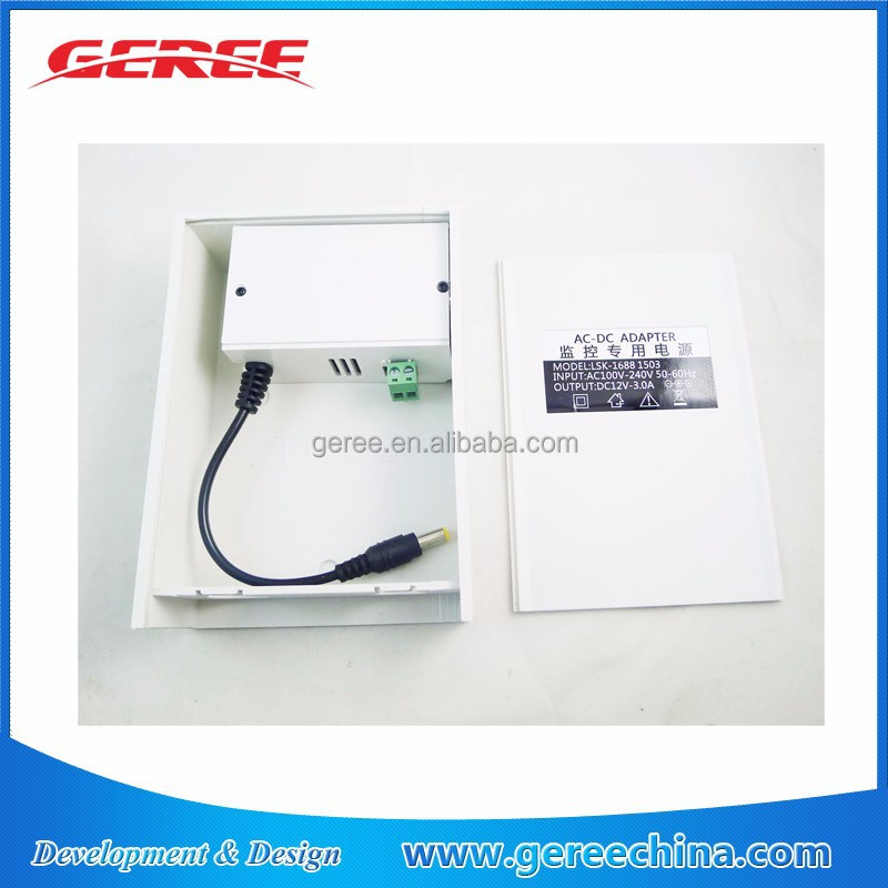 Waterproof Outdoor switching Power Supply 110V 220V AC to 12V 3A for cctv camera