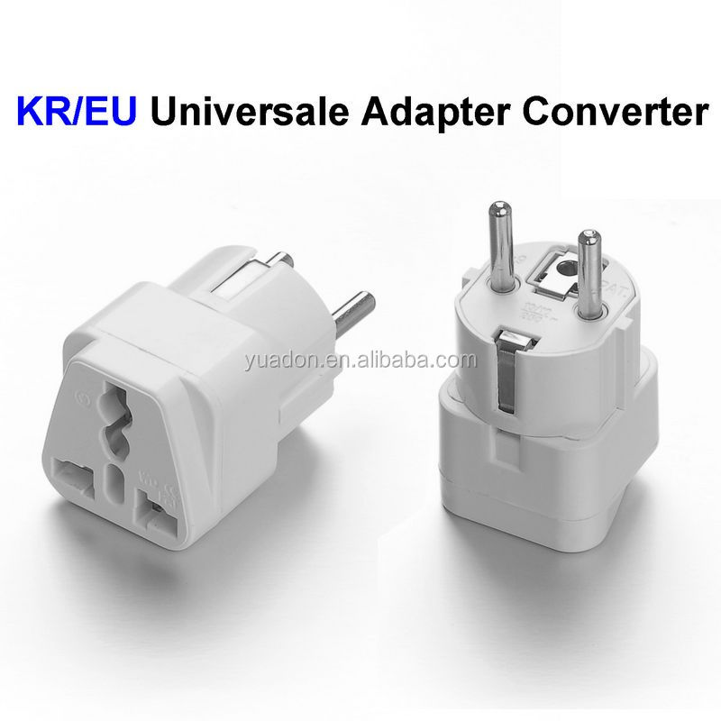 Universal US UK to EU Europe Plug Travel Wall AC Power Charger Outlet Adapter 240V 10A Socket Converter White