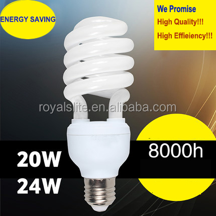 Mini CFL Lamps, Cell Energy Saving lamps, T2 Half Spiral cfl lights 20w Xiamen 8000hours 100% Tri-phosphor