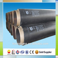 yellow polyurethane foam insulation wrapped black hdpe pipe casing bonded heat resistant thermal insulated steel pipe
