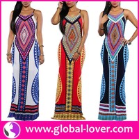 low moq womans long maxi printed two piece african dress