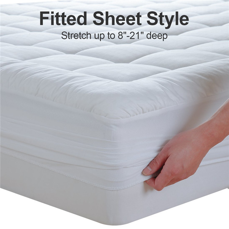 Quilted Mattress Pad White Fitted Waterproof Cotton Protector Cover by 39 x 75 (Twin) - Jozy Mattress | Jozy.net