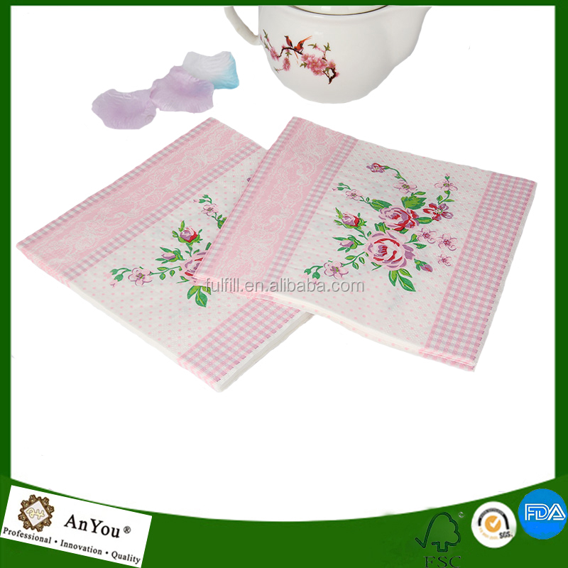 OEM paper napkins folding printing with flowers luncheon napkins and dinner serviettes