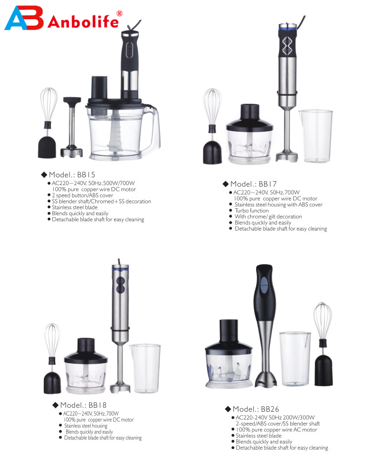 1100W Stainless Steel 3 IN 1 Stick Blender Set for Home Kitchen DC Motor 2 Speeds Electric Hand Blender