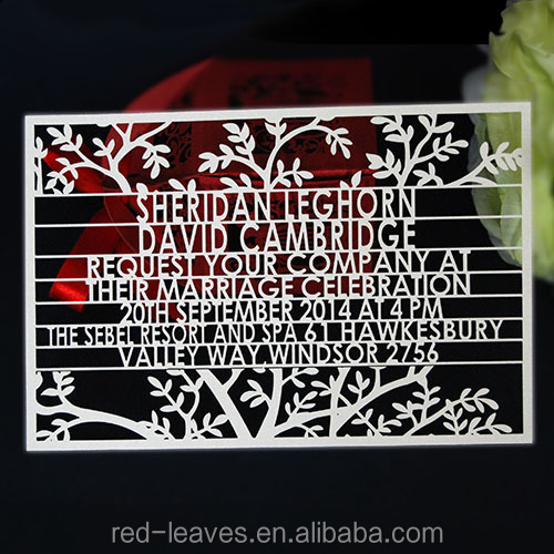 Guangzhou red leaves custom wedding card laser cut design tree theme invitations