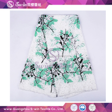 Embroidery Lace Fabric With Holes Tree Shape Green Black For Guipure Lace Evening Dress