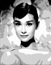 Hot sale high quality famous black and white paintings of Audrey Hepburn