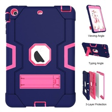 For iPad mini 2 3 rubber case convertible robot stand silicone cover
