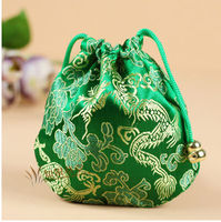 Green color Chinese style silk jewelry pouchs gift silk pouch CH080