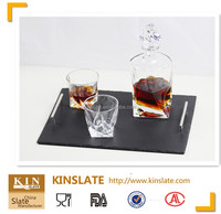 Natural slate serving tray with stainless steel handles