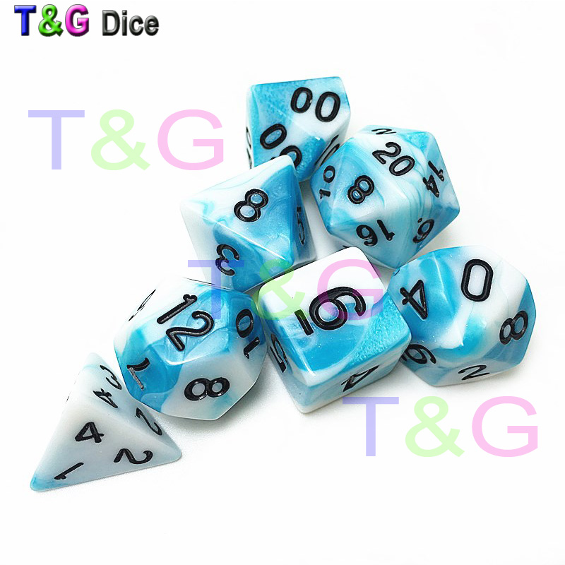 Polyhedral Dice 7pcs Set, RPG Dice Set d4 d6 d8 <strong>d10</strong> d12 d20 d% -DnD Dice