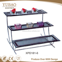 Catering supplies 3 tier long platter acrylic catering food display, acrylic dessert food display buffet stand