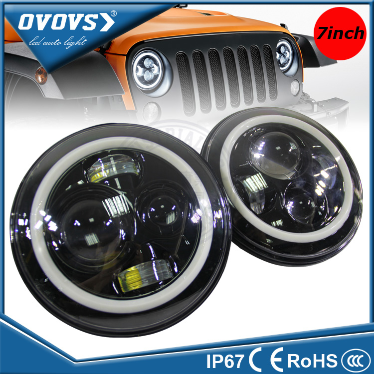 "OVOVS 12 volt 7"" round led headlight hi/lo beam halo led headlight for wrangler"