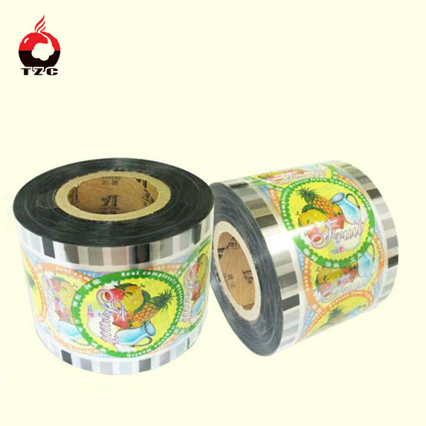 Juice plastic cup lid film with printing
