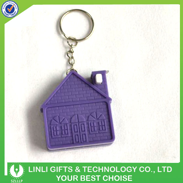 Factory Supply Custom Logo House Shaped Steel Measuring Tape Keychain
