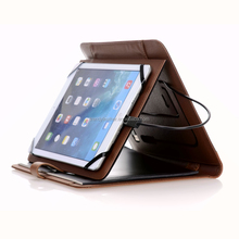 Organizer notebook leather cover with power bank for Ipad,recharge power bank portfolio