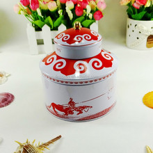 Chinese style round tea container tin box