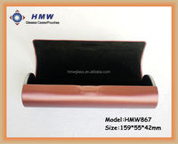 round shape leather handmade folding glasses case optical case