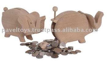 Wooden elephant -small safe