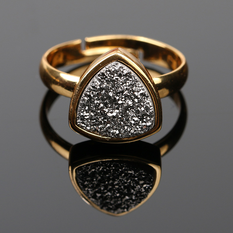 Copper Base 24k Gold Plated Women Rings Engagement Jewelry Druzy Agate Boho Adjustable Rings