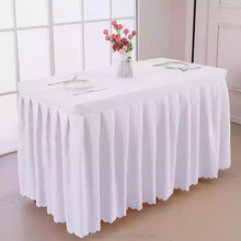 Gathered ruffled accordion pleat polyester table skirt steps table skirting designs for wedding