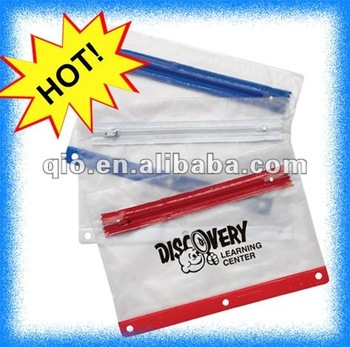 2016 clear PVC vinyl pencil pouch with zipper for promotion pencil case