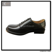 Hard wearing tender black cow leather US military office uniform shoes / men dress shoes