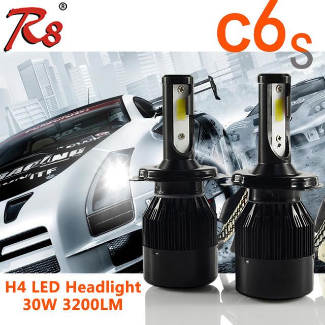 vehicle led light COB H4 white led headlights for cars C6S 30W 3200LM yellow interior lights led head light
