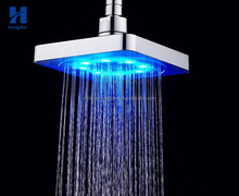 Chrome plated Square 6 inch LED shower top spray LED rain shower head