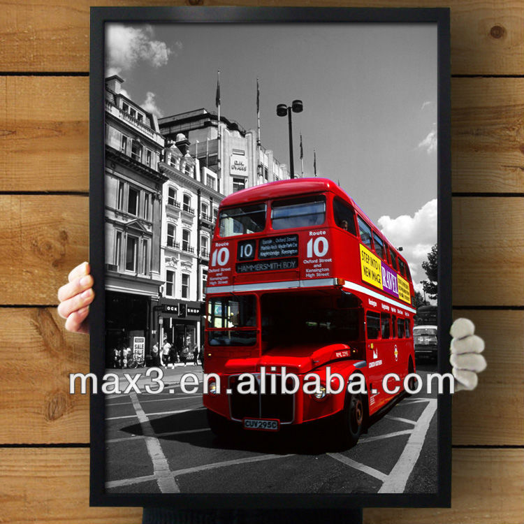 POS-0601 Popular England Double-decker Bus Modern High Quality Black Frame Painting