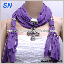 fashion hot sell cross pendant jeweled scarf