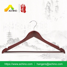 ACHINO Mahogany Finish Space Saving Wooden Suit Hanger with Bar and Notches