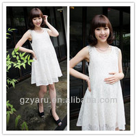 Latest white lace plus size for maternity dress for pregnant women to wear