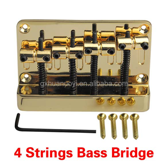 Bass Bridge L Saddle Fits for 4 String Bass Guitar Parts Replacement Gold