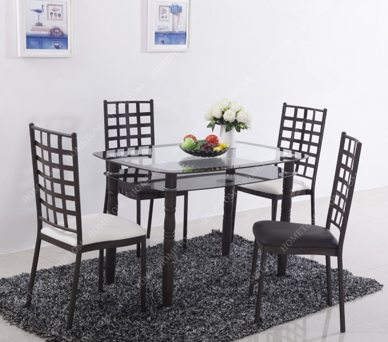 Luxury 10mm Top Tempered Modern Glass Dining Table Set